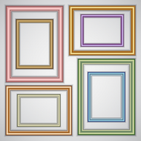 set of realistic plastic and metallic portrait frame templates on the wall Ilustrace