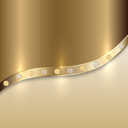golden texture with curve line and precious gems Illustration