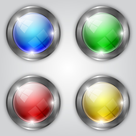 aluminum: Vector set of glossy colorful round buttons with metallic steel frame