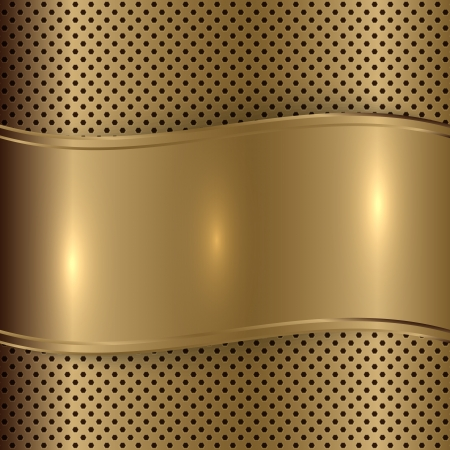 metal sheet: Vector gold  brushed metallic plaque background texture