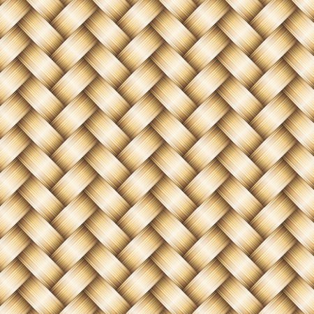bast basket: wickerwork golden metallic seamless pattern  Illustration
