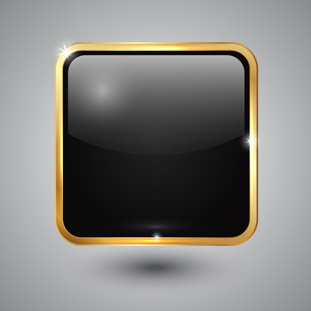 black glass square button with round corners and golden framess square button with round corners and golden frame Vector