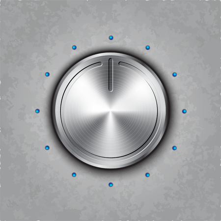 scale icon: round metal power button on textured  Illustration