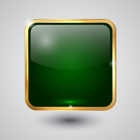 green glass square button with round corners and golden frame Vector