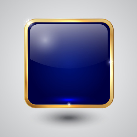 blue glass square button with round corners and golden frame Vector