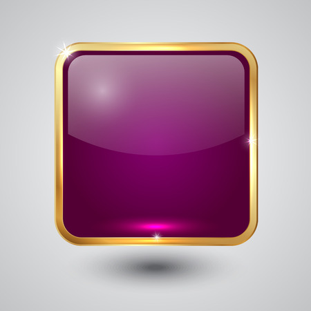 pink glass square button with round corners and golden frame