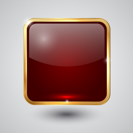 red  glass square button with round corners and golden frame Vector