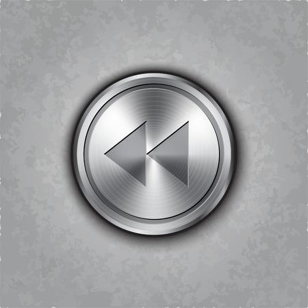 rewind icon: round metal backward rewind knob on textured