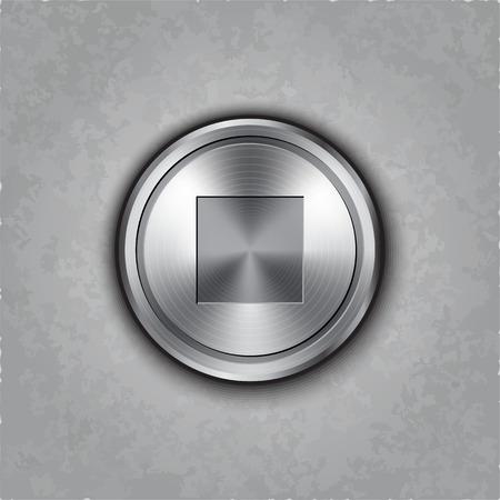 textured: round metal stop button on textured  Illustration