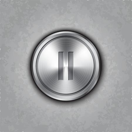 textured: round metal pause button on textured