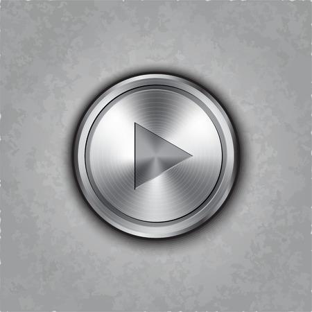 textured: round metal play button on textured
