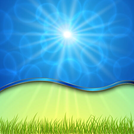 curve: beautiful spring with curve sun, grass, bokeh Illustration