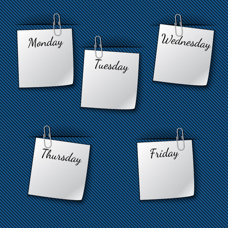 week: Vector illustration of the work week notes clipped to the blue drapery Illustration