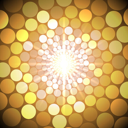 Vector abstract bright yellow background with circles of light
