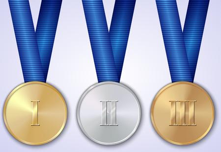Vector set of sportive award gold, silver, bronze medals
