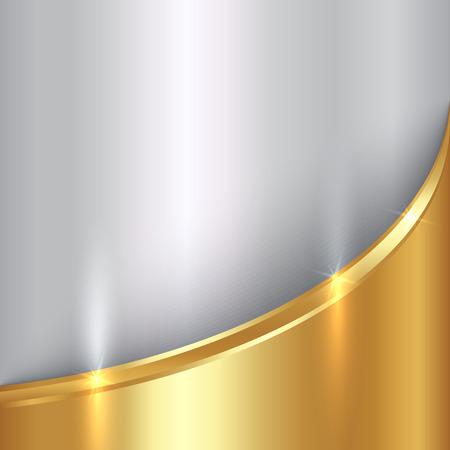 ベクトルの抽象の貴重な金と銀の金属の曲線と背景