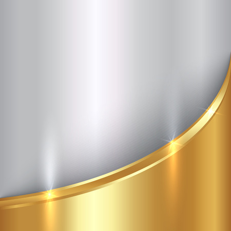 shiny metal background: Vector abstract  precious gold and silver metals background with curve Illustration