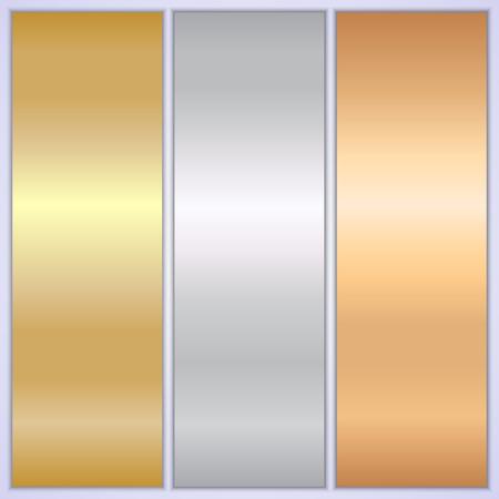 Vector bright metallic texture empty banner templates