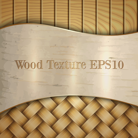 Vector abstract wooden texture with wickerwork, birch skin and curves Illustration