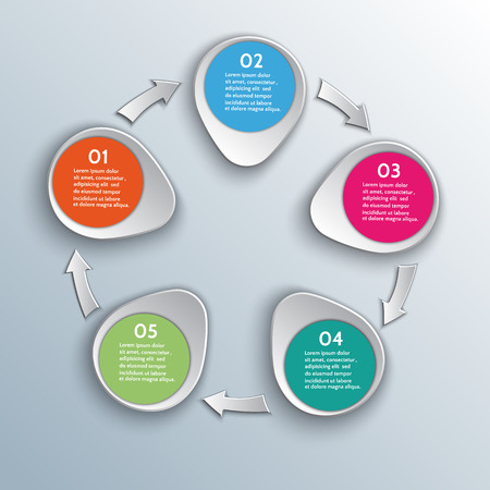 Vector infographic workflow design elements with numbered steps