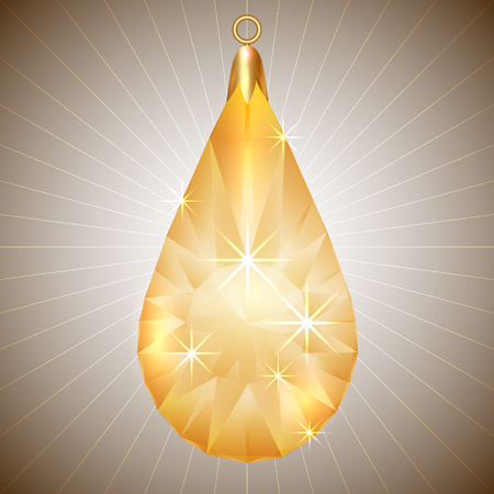 precious yellow gem pendant with gold setting