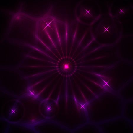 벡터 보라색 빛나는 광선 및 별 추상 어두운 배경