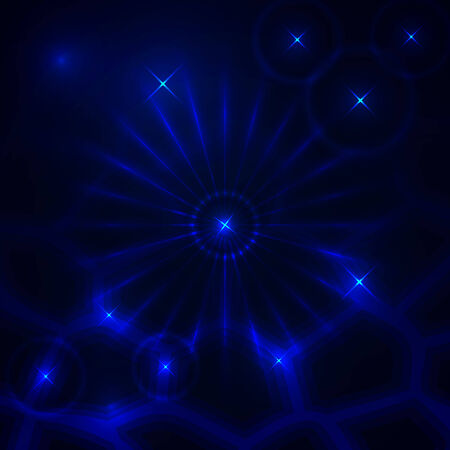 Vector abstract dark background with blue glowing rays and stars