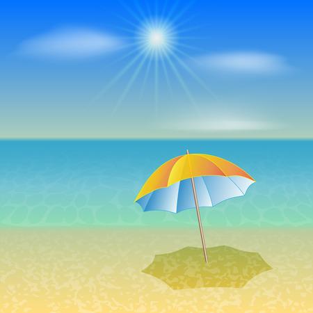 yellow umbrella: illustration of sunny sea beach with yellow umbrella Illustration