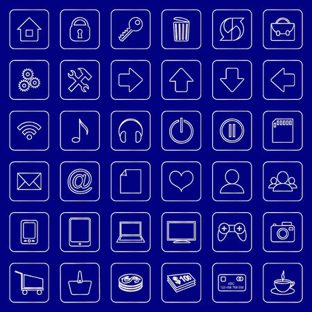 set of blue and white square flat icons for e-commerce web site Vector