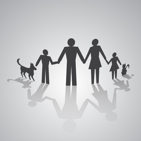 family isolated: monochrome pictogram of family with kids and cat and dog