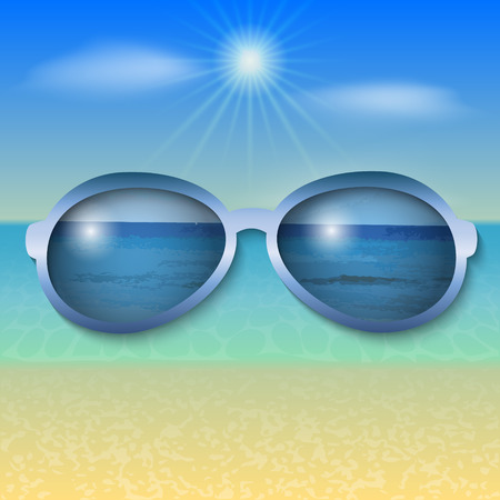 illustration of sunny sea beach with sun glasses