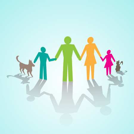 family isolated: multi-color pictogram of family with kids and cat and dog Illustration