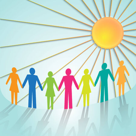 multi-color community people pictograms with sun Vector