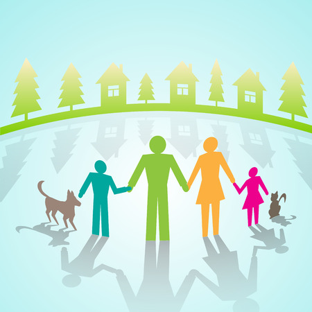 family isolated: multi-color community people pictograms in village Illustration