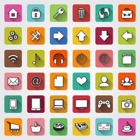 icons site search: set of colored square flat icons with shadows for e-commerce web site
