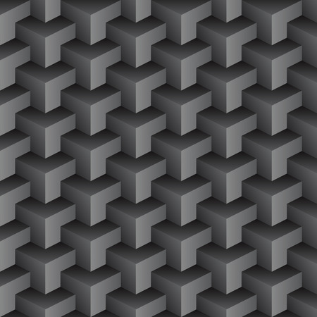 abstract black seamless pattern made from stacked cubes