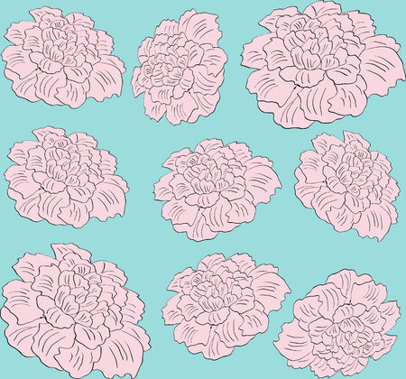 flower pink peony seamless pattern on blue background Illustration