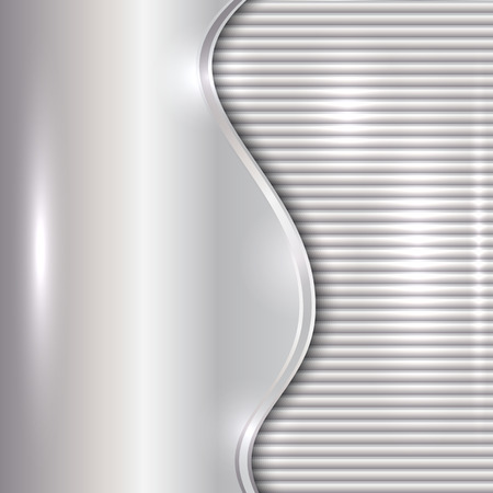 curve: Vector abstract silver metallic background with curve and stripes