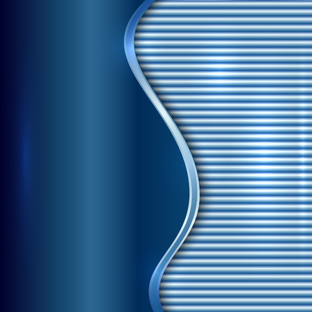 curve: Vector abstract blue metallic background with curve and stripes