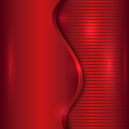 curve: Vector abstract cherry red metallic background with curve and stripes