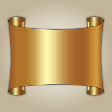 Vector abstract gold award scroll plate on beige background