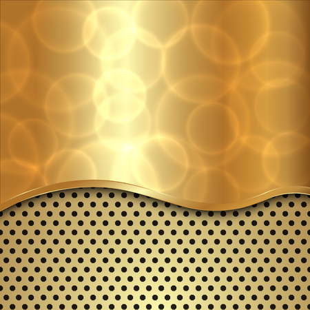 curve: Vector abstract gold metallic background with curve and cells