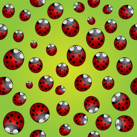 Vector abstract background seamless pattern with lady bugs Çizim