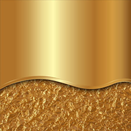 Vector abstract gold metallic background with curve and foil