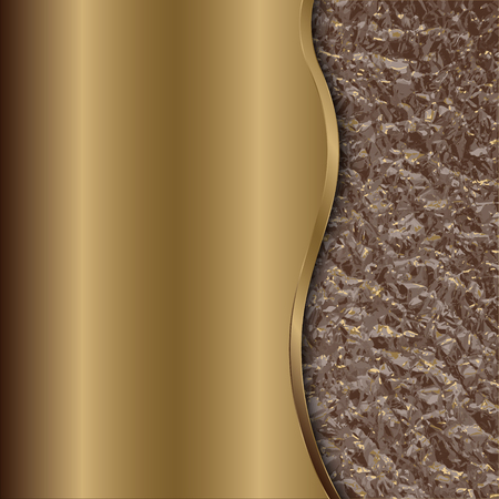 curve: Vector abstract bronze metallic background with curve and foil