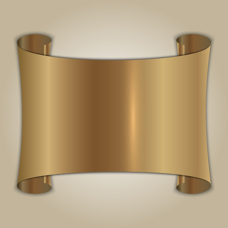 abstract brushed gold award plate on beige background Vector