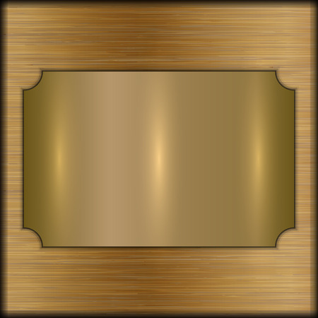 memorial plaque: abstract brushed gold award plate on beige background