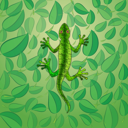 illustration of green lizard on the background with leaves Çizim