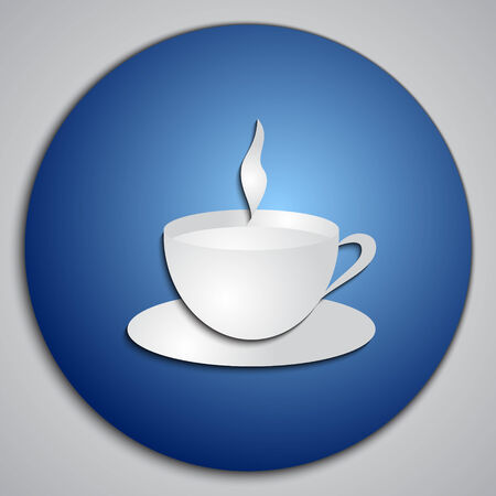 blue button: blue Coffee Cup button Illustration