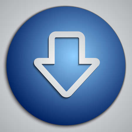 blue button: round blue down arrow button Illustration